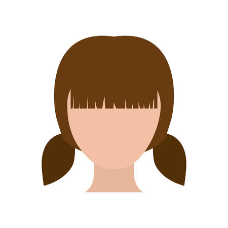 pigtail: colorful silhouette faceless girl with pair pigtails hairstyle vector illustration
