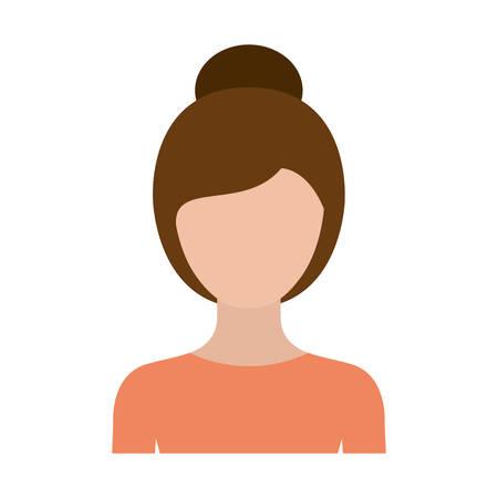 kleurrijke silhouet gezichtsloze halve lichaam vrouw met verzamelde kapsel vectorillustratie