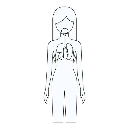 pleura: sketch silhouette of female person with respiratory system human body vector illustration Illustration