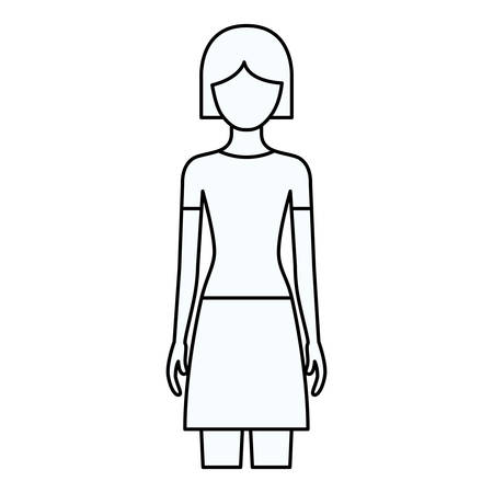 cheek: sketch silhouette of faceless front view woman with skirt and short hairstyle vector illustration