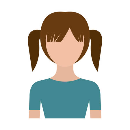 colorful silhouette faceless half body girl with pair pigtails hairstyle vector illustration Illustration