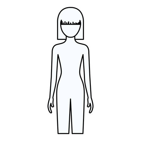 sketch silhouette of faceless front view woman naked body with straight short hairstyle vector illustration Çizim