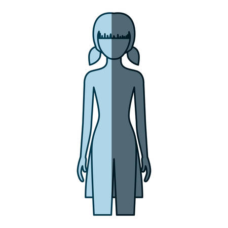 blue color shading silhouette faceless front view girl naked body with pigtails hairstyle vector illustration Illustration