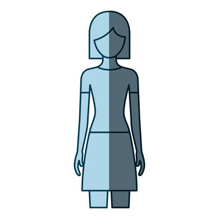 cheek: blue color shading silhouette faceless front view woman with skirt and short hair vector illustration
