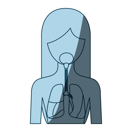 blue color shading silhouette half body female person with respiratory system vector illustration