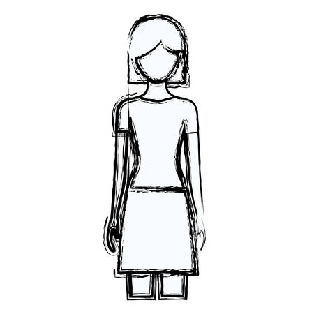cheek: blurred silhouette faceless front view woman with skirt and short hair vector illustration Illustration