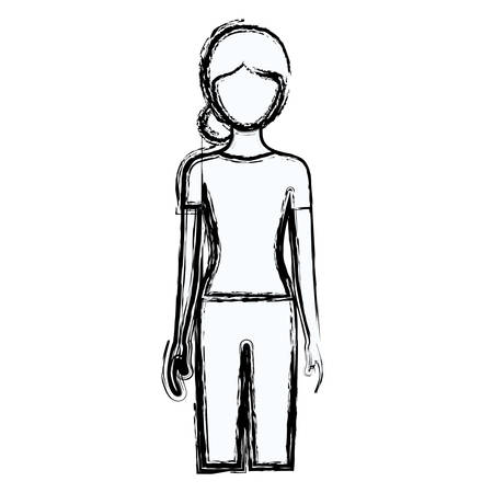 cheek: blurred silhouette faceless front view woman with pants and collected hair vector illustration