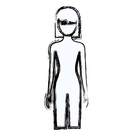 blurred silhouette faceless front view woman naked body with straight short hairstyle vector illustration Illustration