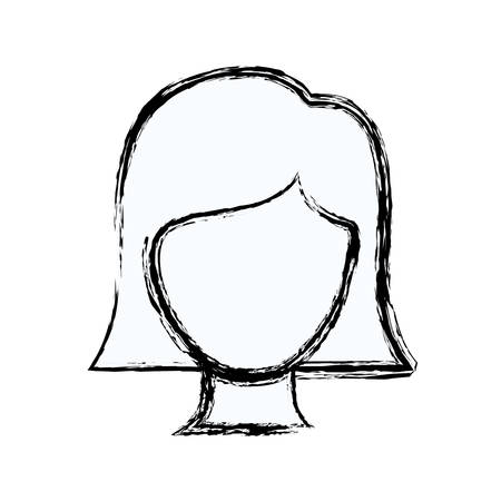 blurred silhouette faceless woman with straight short hair vector illustration