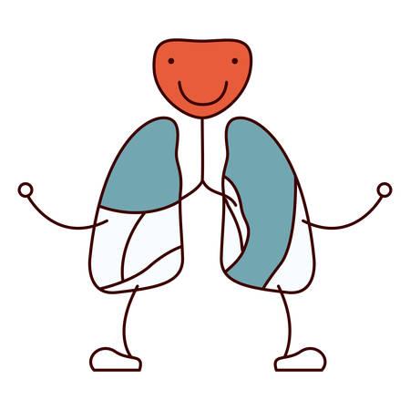 color secciones dibujo contorno caricatura respiratorio sistema con windpipe ilustración vectorial Ilustración de vector