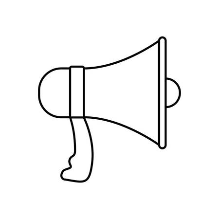 loud speaker: white background with monochrome silhouette of megaphone vector illustration