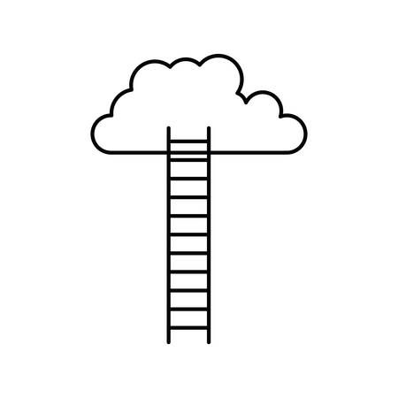 white background with monochrome silhouette of ladder to cloud vector illustration Ilustração