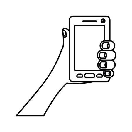 smartphone business: white background with monochrome silhouette of hand holding smartphone vector illustration