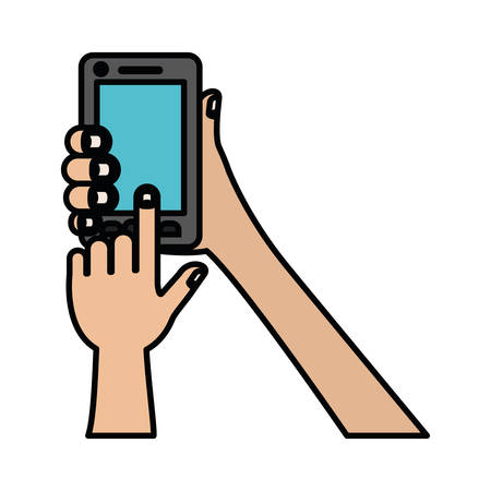 white background with colorful silhouette of hands holding smartphone with thick contour vector illustration