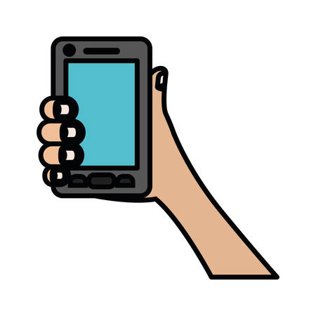 smartphone business: white background with colorful silhouette of hand holding smartphone with thick contour vector illustration Illustration