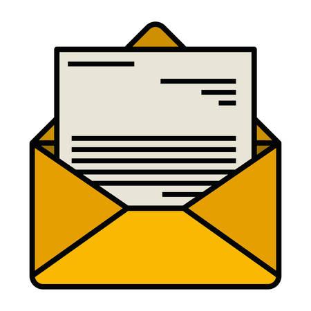 Witte achtergrond met kleurrijke silhouet van envelop mail geopend met brief met dikke contour vector illustratie
