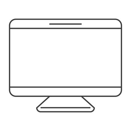 monochrome silhouette of screen monitor vector illustration Çizim