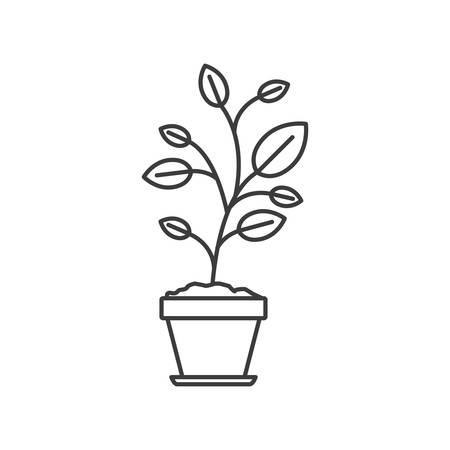 potting soil: monochrome silhouette of plant in flower pot vector illustration Illustration
