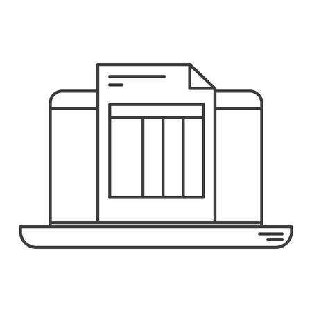billing: monochrome silhouette of laptop computer and billing sheet vector illustration