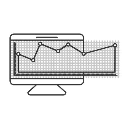 lcd tv: monochrome silhouette of screen monitor and financial risk graphic vector illustration