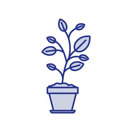 potting soil: Blue silhouette of plant in flower pot vector illustration
