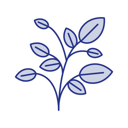 Blue silhouette of plant with branches and leaves vector illustration