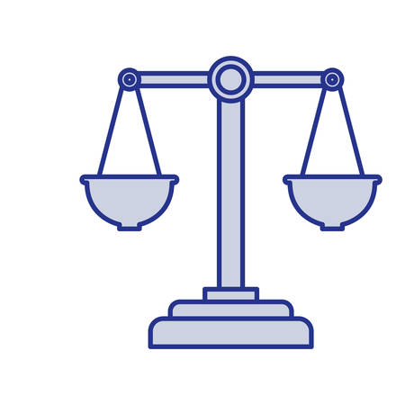 Blue silhouette of justice scales vector illustration