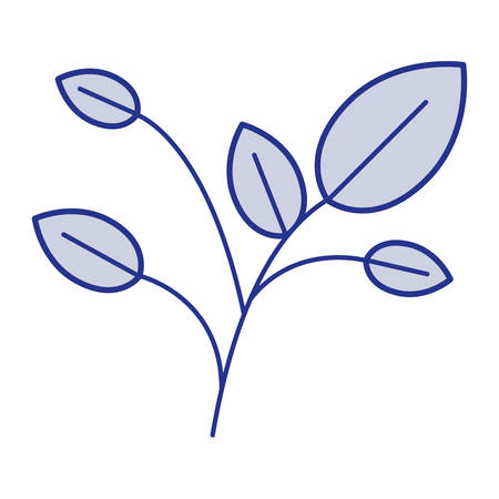 cultivate: Blue silhouette of branches with leaves vector illustration