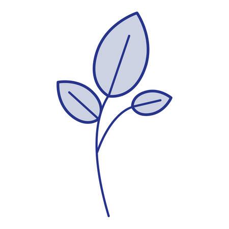 potting soil: Blue silhouette of branch and leaves vector illustration Illustration