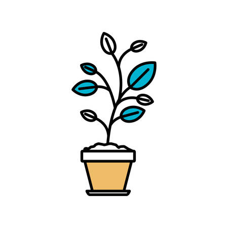 potting soil: Color sections silhouette of plant in flower pot vector illustration