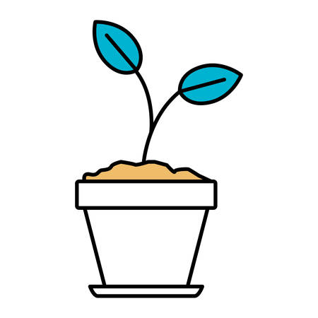 cultivate: Color sections silhouette of plant in flower pot in closeup vector illustration