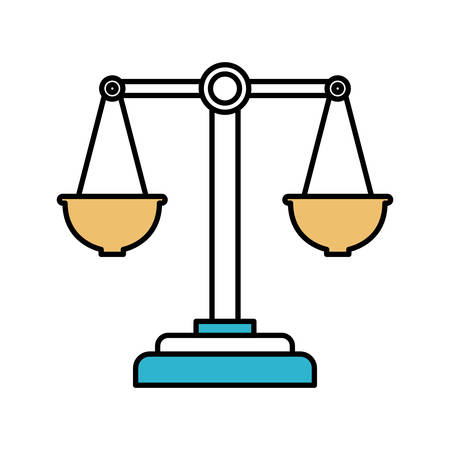 justice scale: color sections silhouette of justice scales vector illustration