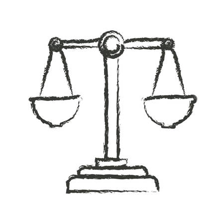 monochrome blurred silhouette of justice scales vector illustration Illustration