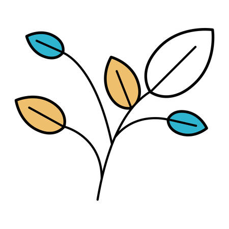 potting soil: color sections silhouette of branches with leaves vector illustration
