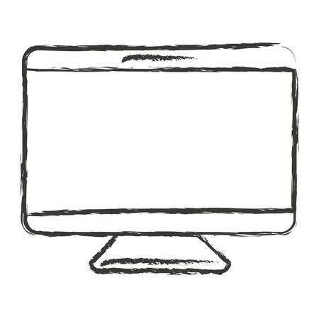looking at computer screen: monochrome blurred silhouette of screen monitor vector illustration