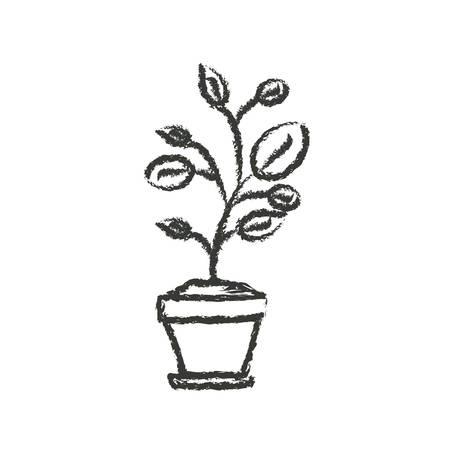 potting soil: monochrome blurred silhouette of plant in flower pot vector illustration