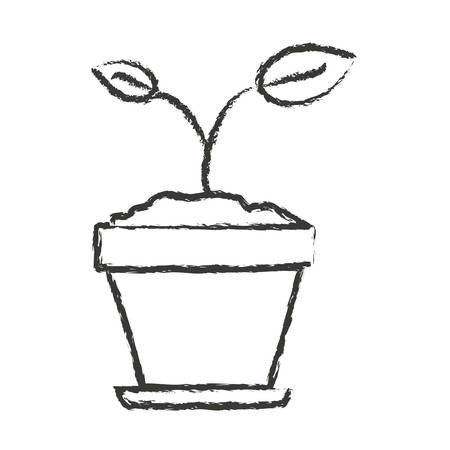 potting soil: monochrome blurred silhouette of small plant in flower pot in closeup vector illustration Illustration