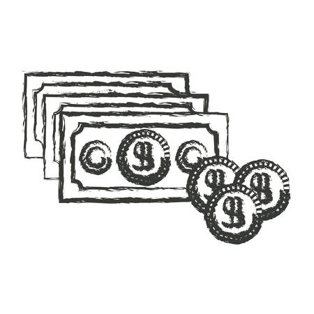 cent: monochrome blurred silhouette of money bills and coins set vector illustration