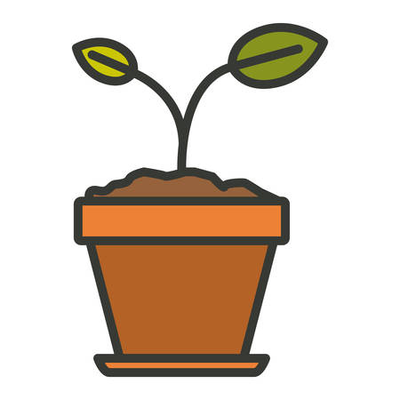 cultivate: colorful silhouette of small plant in flower pot in closeup with thick contour vector illustration