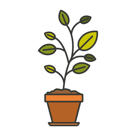 potting soil: colorful silhouette of plant in flower pot with thick contour vector illustration