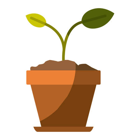 colorful silhouette of small plant in flower pot in closeup and without contour vector illustration
