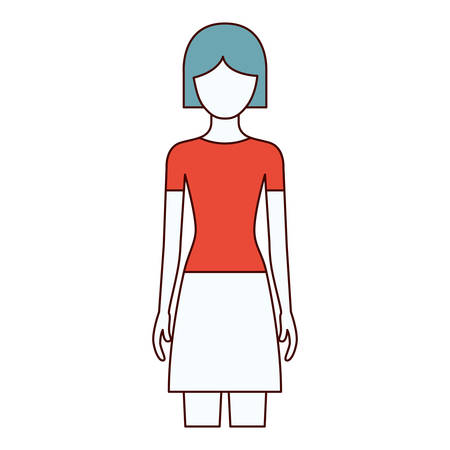 color sections silhouette faceless front view woman with skirt and short hairstyle vector illustration
