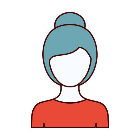 front view: color sections silhouette of faceless half body woman with collected hairstyle vector illustration Illustration