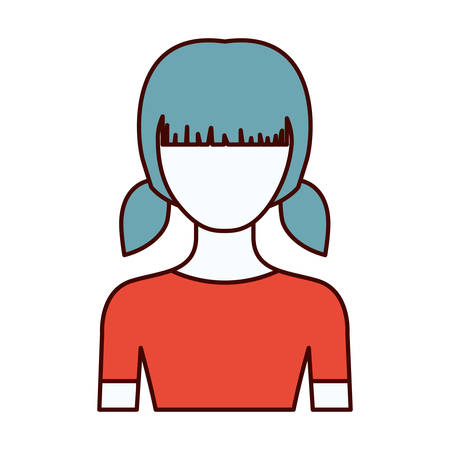 front view: color sections silhouette of faceless half body girl with pigtails hairstyle vector illustration Illustration