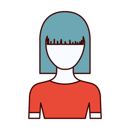medium body: color sections silhouette of faceless half body young woman with straight medium hairstyle vector illustration