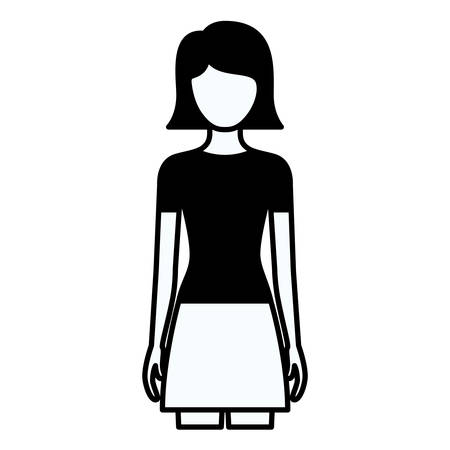 front view: black silhouette thick contour of faceless full body woman with skirt and short straight hairstyle vector illustration