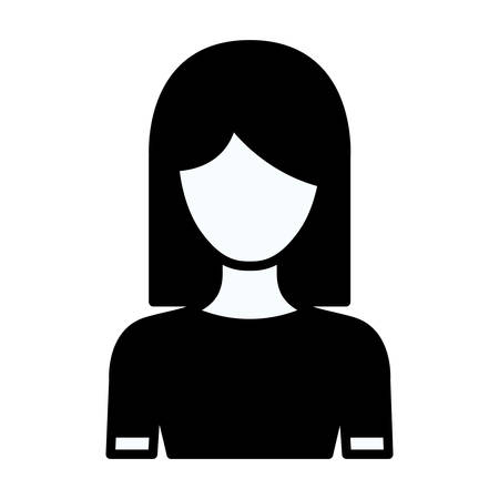 medium body: black silhouette thick contour of faceless half body woman with straight medium hairstyle vector illustration Illustration
