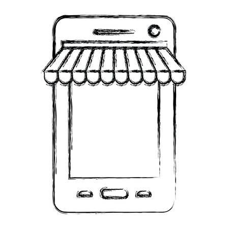 bank cart: monochrome blurred silhouette of smartphone online store vector illustration Illustration