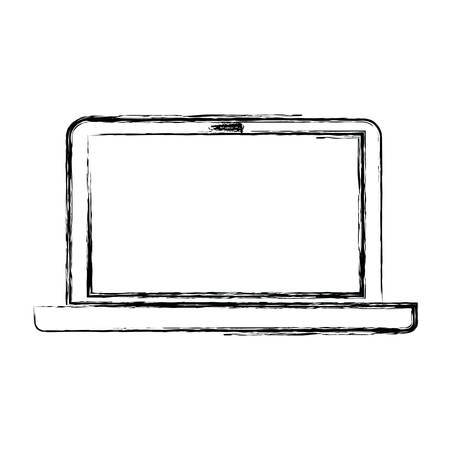 wireless connection: monochrome blurred silhouette of laptop computer vector illustration