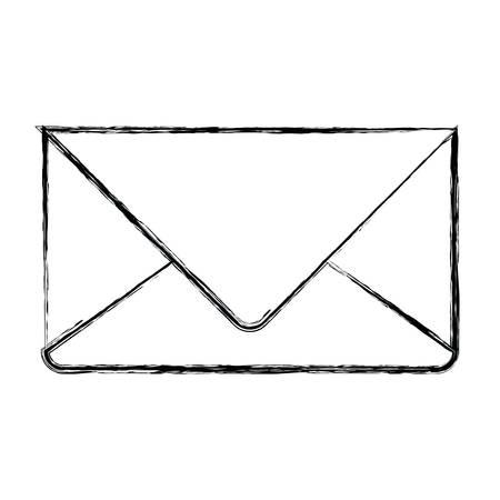 通信: monochrome blurred silhouette of envelope mail in closeup vector illustration  イラスト・ベクター素材